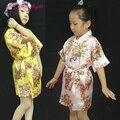 2016 Vestes Florais de Verão Para Meninas Crianças De Seda Do Vestido de Casamento Crianças Camisola Partido Noiva Robes Kimono Criança