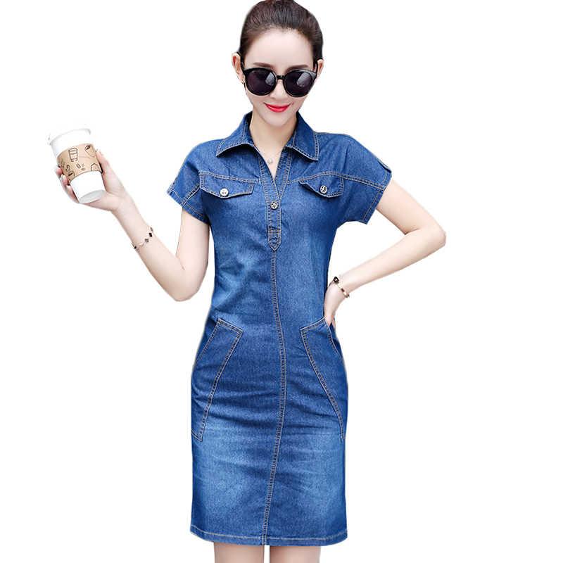 2019 летнее джинсовое платье женское плюс размер Sexy короткий рукав сексуальные Повседневные Вечерние офисные джинсы платья Vestidos Женская одежда AA629