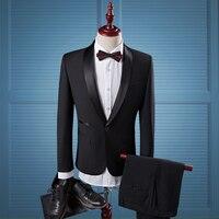 Fashion Men S Black Shawl Collar Suit Male Set The Groom Wedding Dress Slim Male Suit