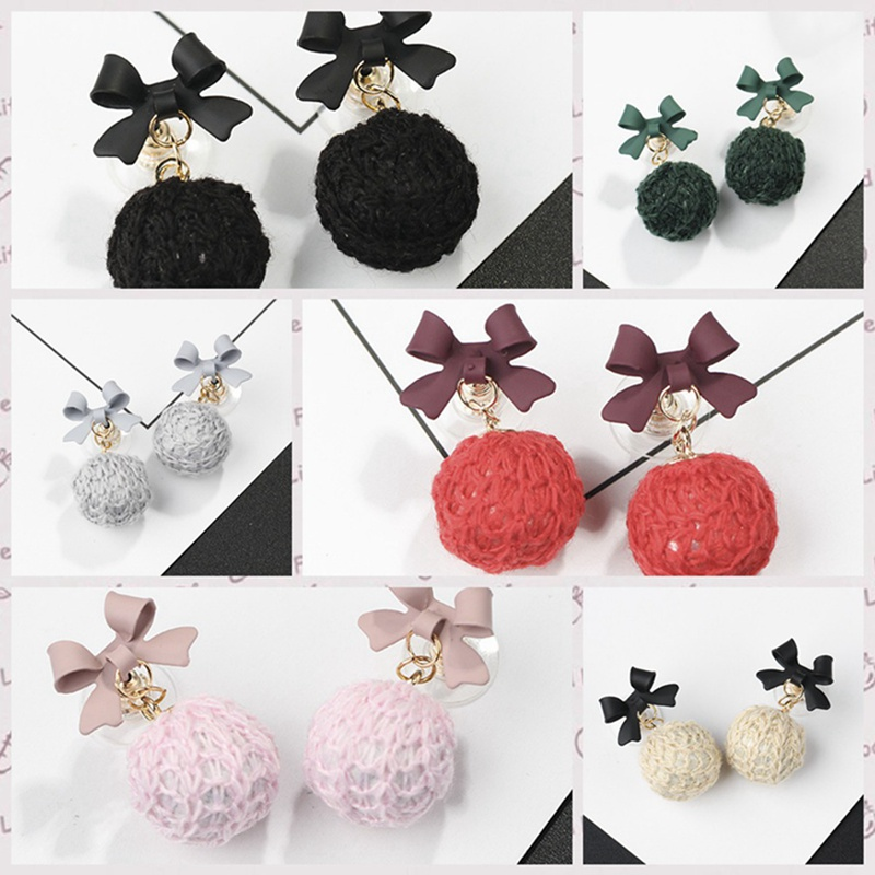 New Mode Korean Style Round Circle Wooden Earrings For Women Fashion Handmade Braided Ball Fashion Earring Jewelry Gifts