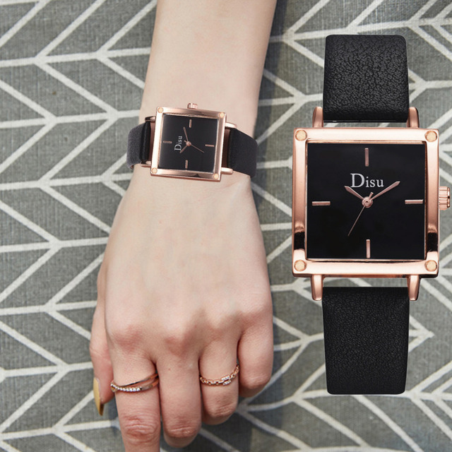 HOT Women Silver Square Slim Watch Leather Band Quartz Wristwatch Office Lady Blue Square Dial Simple Watch Reloj Mujer W50