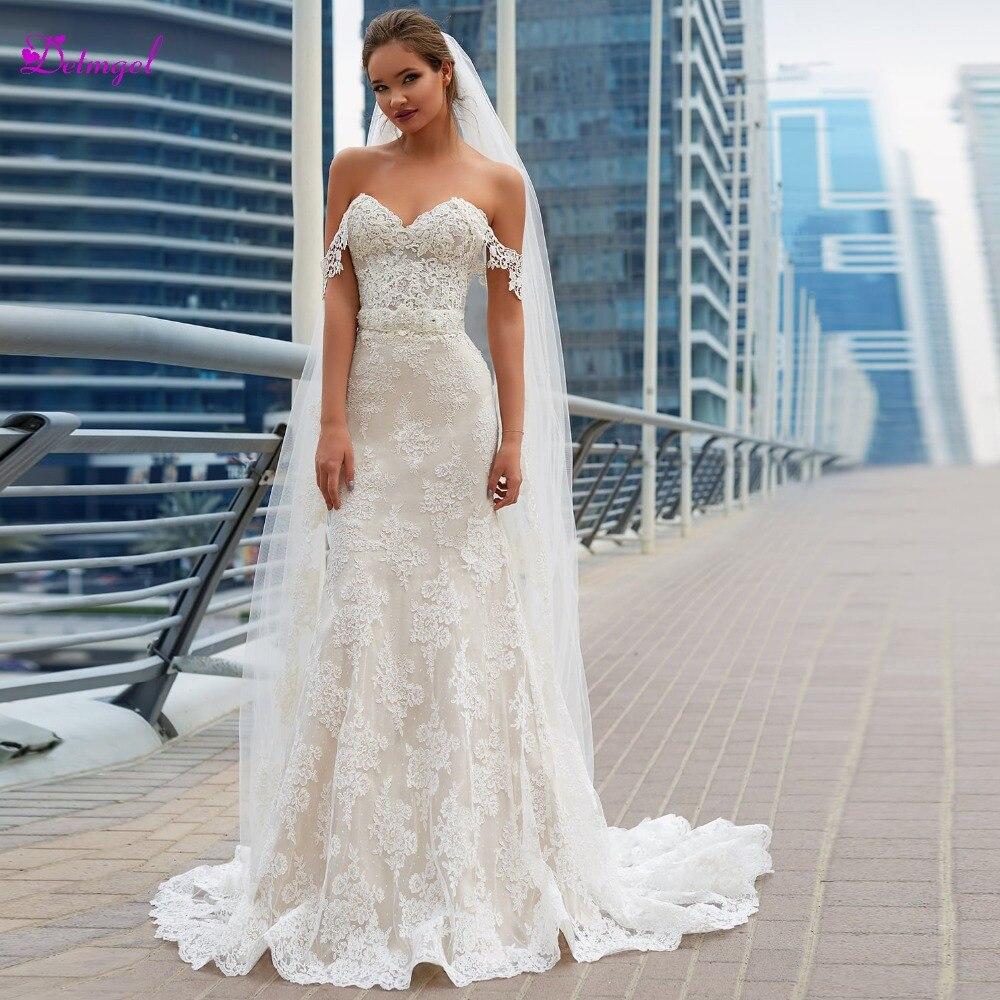 Detmgel Vestido de Noiva Pescoço Namorada Lace Up Sereia Vestidos de Casamento 2019 Luxo Frisada Caixilhos Apliques Trumpet vestido de Noiva
