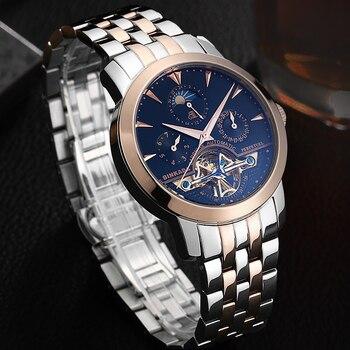 Brand Luxury Hollow Automatic Watch BINKADA Men's Classic Skeleton Mechanical Watches Waterproof 30M Genuine Leather saat