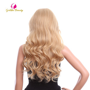 Image 5 - זהב יופי 24 אינץ Loose גל פאה ארוך שיער סינטטי תחרה מול פאות צד חלק Ombre חום בלונד קוספליי פאות עבור נשים