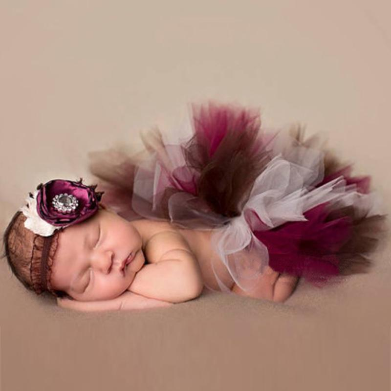 Newborn Photography Props Baby Elastic Headband Tutu Skirt Photo Props Costume Outfits CuteBaby Girl Clothes
