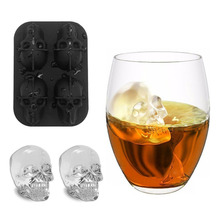 3D Skull Head Ice Cube Mold Halloween Home Bar Silicone Skull Ice Cube  Whiskey Cocktail Ice Ball Ice Cream Mold skeleton skull head silicone chocolate muffin cupcake candy ice cube mold halloween