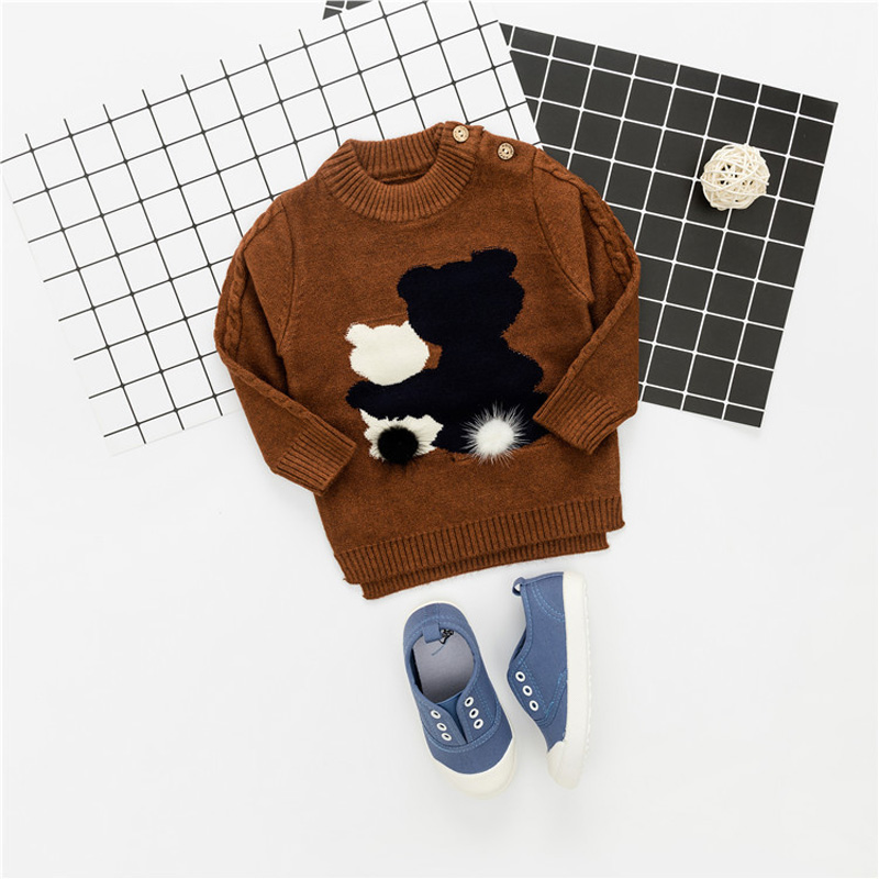 Autumn Winter Knit Baby Infants Knitwear Boys Long Sleeve O-neck Cartoon Bear Ball Outwear Pullover Camisola Sweater S5761 cowl neck knit blends drawstring sweater