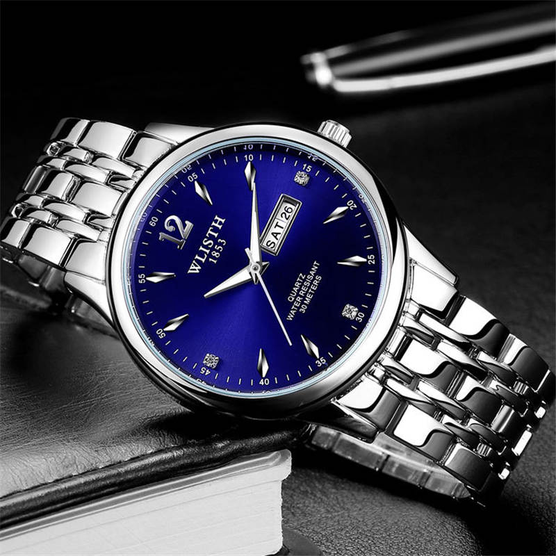 WLISTH mens watch  wristwatch stainless steel band fashion quartz relogio masculino