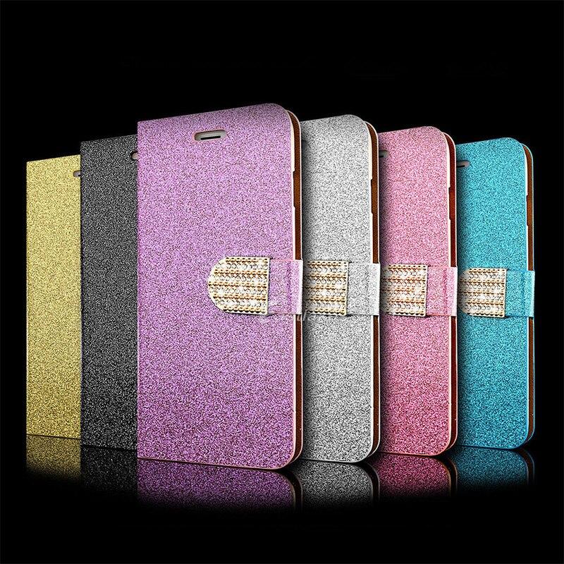 8586a4f15d3 Voguery diamante brillo cartera ranura para tarjeta Flip stand cubierta de  cuero para el iPhone 5 5S se funda protectora para el iPhone 6 6 s más