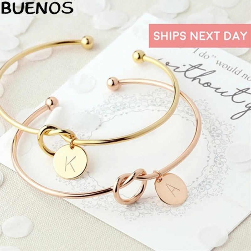 BUENOS Новый горячий розовое золото/серебро сплав браслет с буквами цепочка со змеями браслет женщина мода простой личности ювелирные изделия подарок