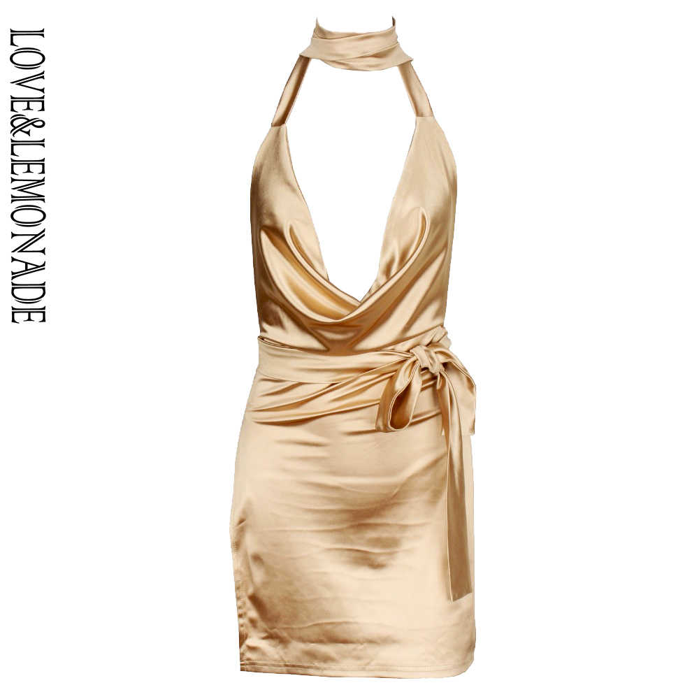 Liefde & Limonade Open Back Stof Flash Party Dress Gold TB 9936 Herfst/Winter