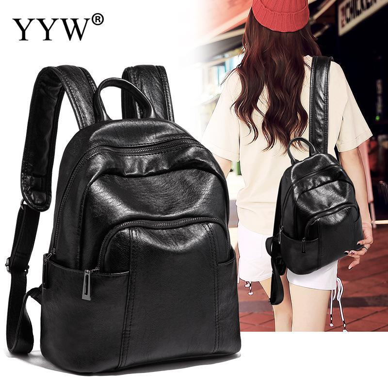 2018 New Backpack Korean Women Female Rucksack Leisure Student Black School bag Soft PU Leather Women Bag