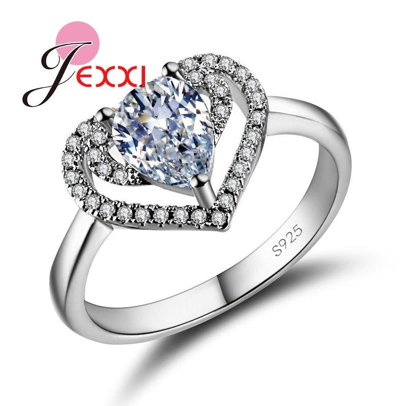 jexxi wedding engagement rings women romantic heart teardrop rhinestone ring s925 sterling silver anniversary gift - Teardrop Wedding Rings