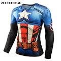 Capitão América T shrit Manga Longa camisetas 3D Homens Top Compressão Aptidão Tees Spiderman Homem De Ferro Crossfit 2017 ZOOTOP URSO