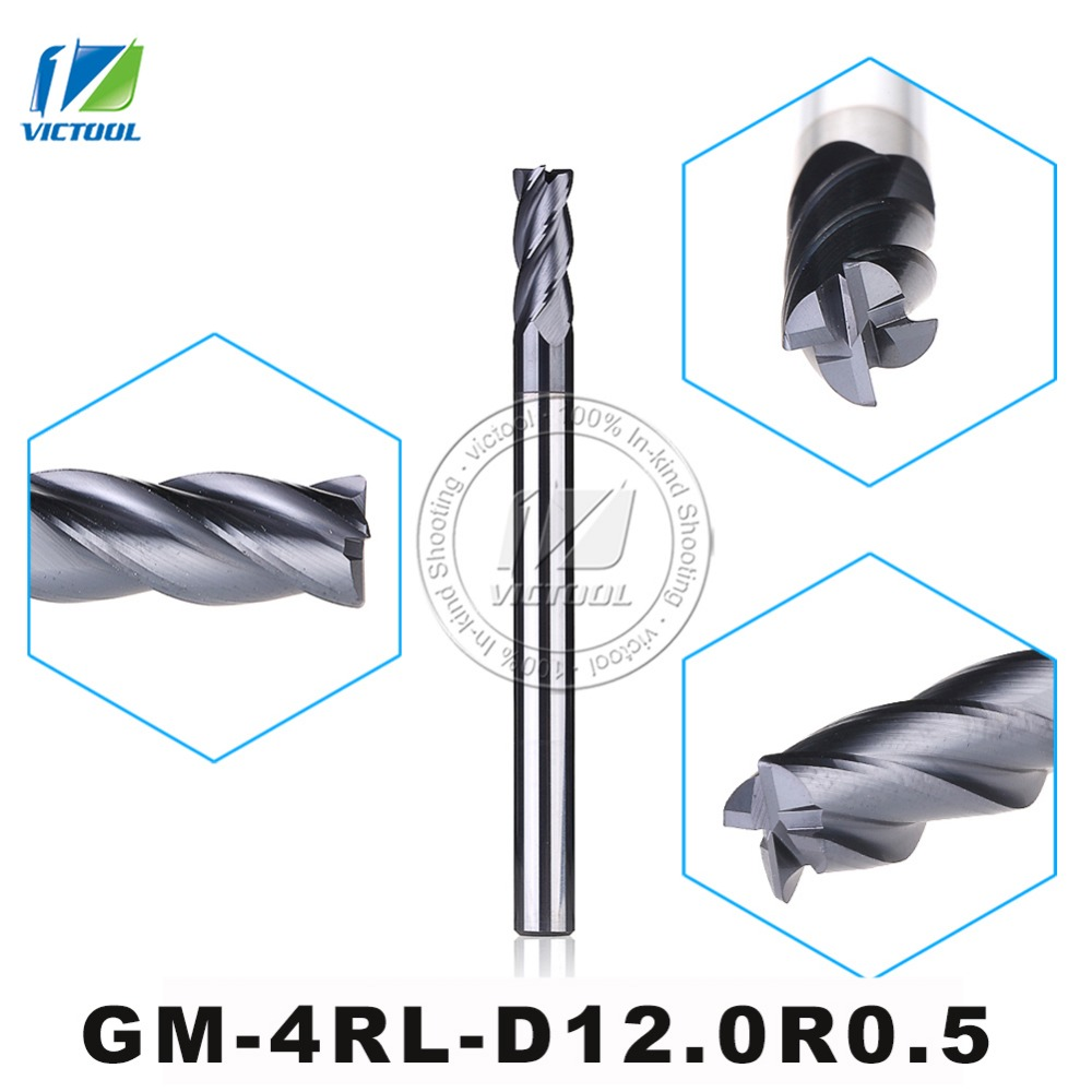 GM-4RL-D12.0R0.5 Cemented Carbide 4-Flute R End Mill Straight Shank long Shank Milling Cutter Metal Drill Bits Cutting Tools 1pcs 8 8mm hss cnc straight shank 4 flute end mill milling cutter metal drill bits cutting tools p0 05