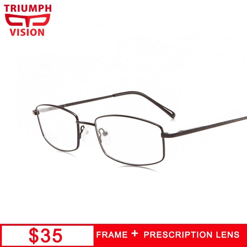 100% Waar Triumph Vision Transparante Recept Bril Voor Mannen Black Metal Vierkante Bijziendheid Glazen Mannelijke Computer Lezen Bril Snelle Kleur