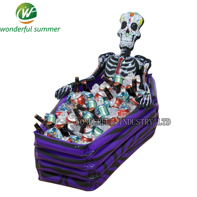 102*30*26cm Skull Inflatable Cooler Skeleton Drink Ice Bucket Halloween Party Supply Christmas Decoration Toys Outdoor Tableware
