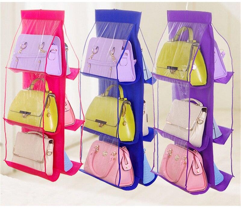 Creatieve Dubbelzijdig 6 Pocket Opknoping Handtas Organisator Voor Garderobe Transparante Opbergtas Opknoping Afwerking Zak Comfortabel Gevoel