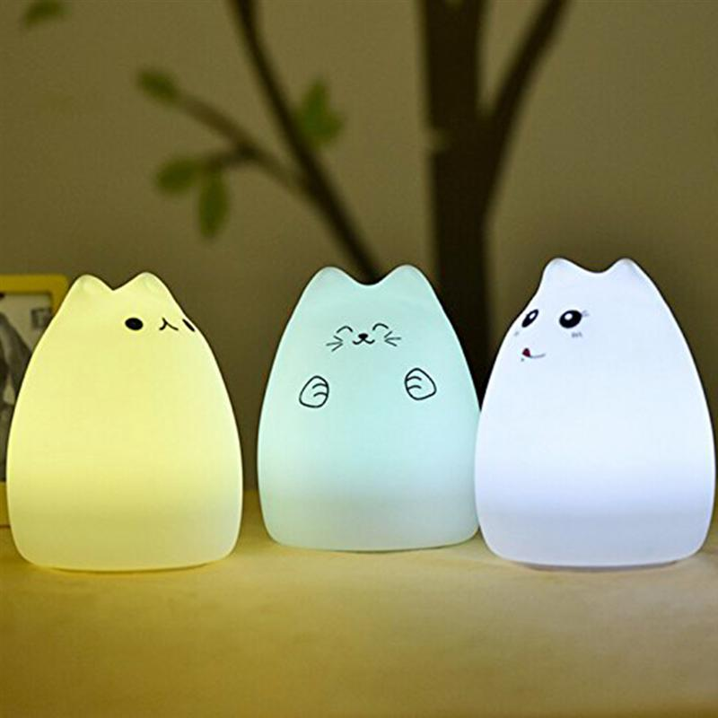Cute Kitten LED Children Night Light Kids Silicone Cat Lamp 7-Color Flashing USB Recharg ...