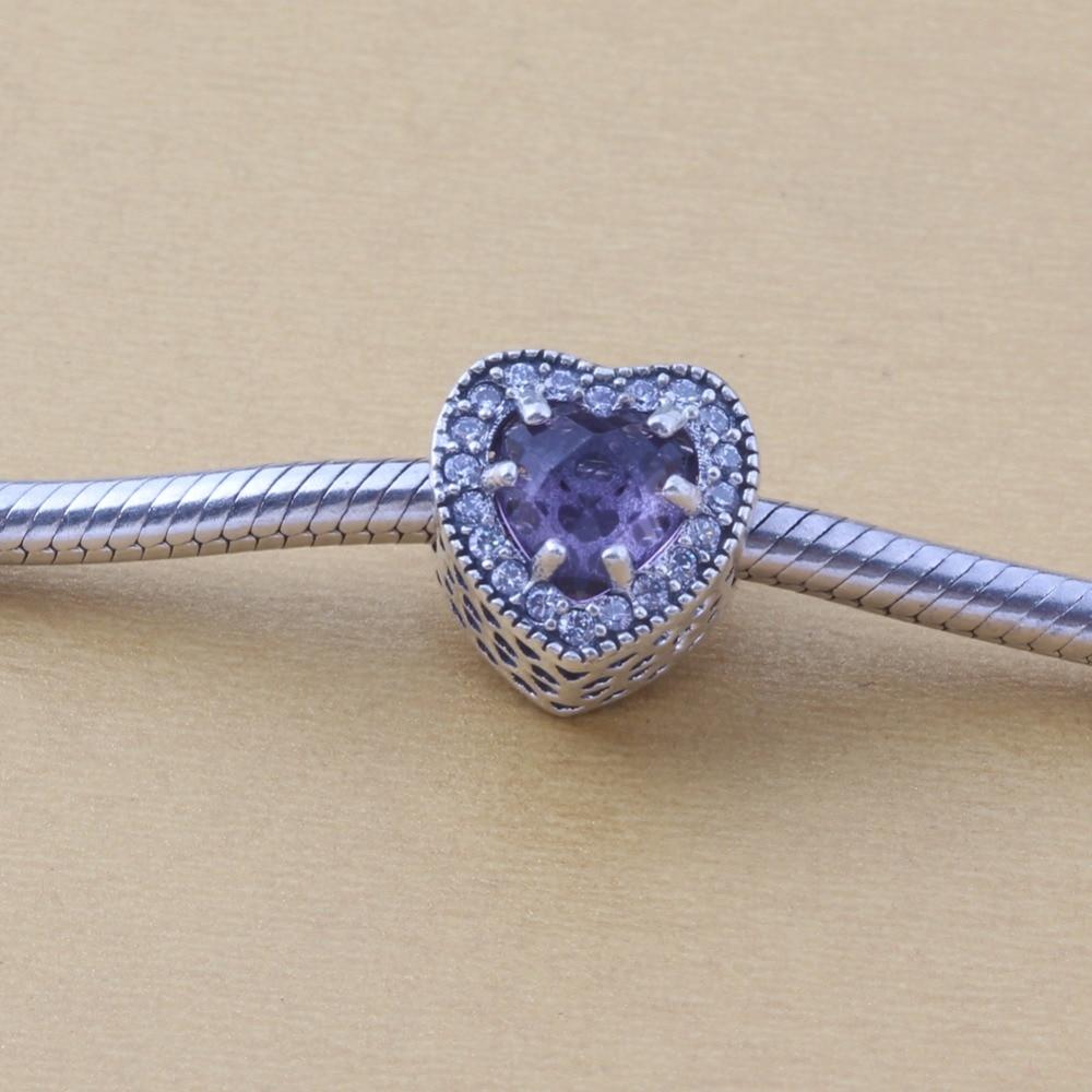 ZMZY Jewelry Heart Crystal with CZ 100% 925 Sterling Silver Charms Beads Fits Pandora Charms Bracelet