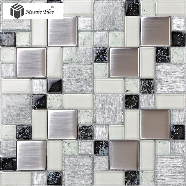 Brushed Metallic Sliver Gray White Glass Mosaic Tiles Korean Fresh Design For Bathroom Countertop Mirror Wall