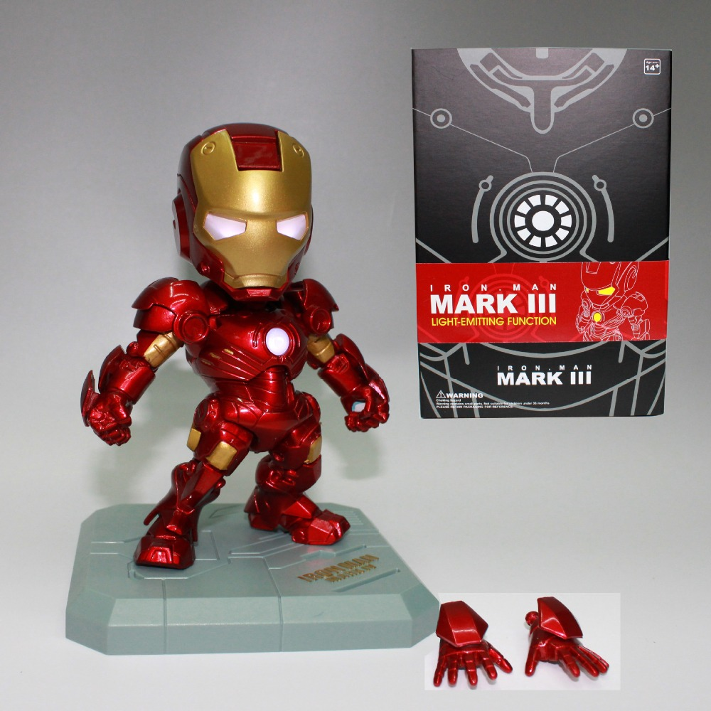 Marvel Avengers Super Hero Iron Man Mini LED Flash Light 15CM PVC Action Figure Doll Set Model Funko Pop Collection Kid Toy Gift  marvel deadpool funko pop super hero pvc ow batman action figure toy doll