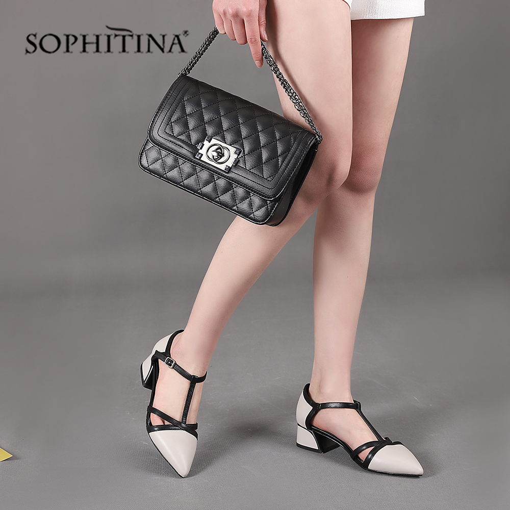 SOPHITINA High Quality Genuine Leather Sandals Fashion Buckle Strap Cover Square Heel Shoes New Hot Sale