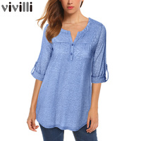 Vivilli New Spring Summer Roll Up Long Sleeve Women Knitted Blouse With Buttons Fitted Casual Curved