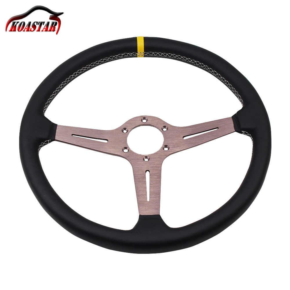 380 milímetros 370 milímetros Clássico Cobertura De Volante de Couro com 15 polegada ND ND Chifre Universal Racing Wheel Steering Carro com gumetal Falou