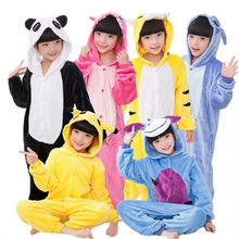 Kids Panda Onesie Kigurumi Flannel Pajamas Cartoon Boys Girls Cosplay Hooded Animals Rabbit Bat Jumpsuit Pyjama Sleepers Blanket