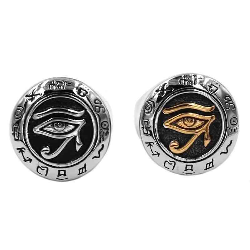 Ägyptischen Auge von Horus Ra Udjat Talisman Ring Edelstahl Gold Silber Farbe Alle-sehen-auge zinn Biker männer Ring SWR0703A