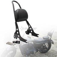 Black Steel Detachable Sissy Bar Motorcycle Passenger Backrest for Harley Sportster 1200 883 XL 04 UP 1set
