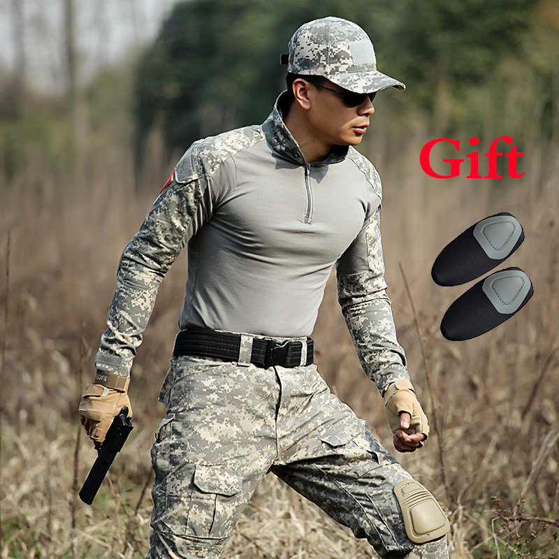 Espressive Outdoor Da Combattimento Militari Degli Uomini Della Camicia Army Camo Manica Lunga Tactical T Shirt Sport Soldati Uomini Caccia Paintball Formazione Shirt