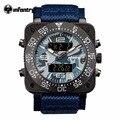 INFANTARIA Mens Dual Time Quartz Relógio Digital Azul Marinho Militar Do Exército Nylon Sports Watch Relogio masculino 30 M Resistente À Água