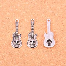 75Pcs Antique Silver Plated guitar skull Charms Diy Handmade Jewelry Findings Accessories 32*11mm(China)