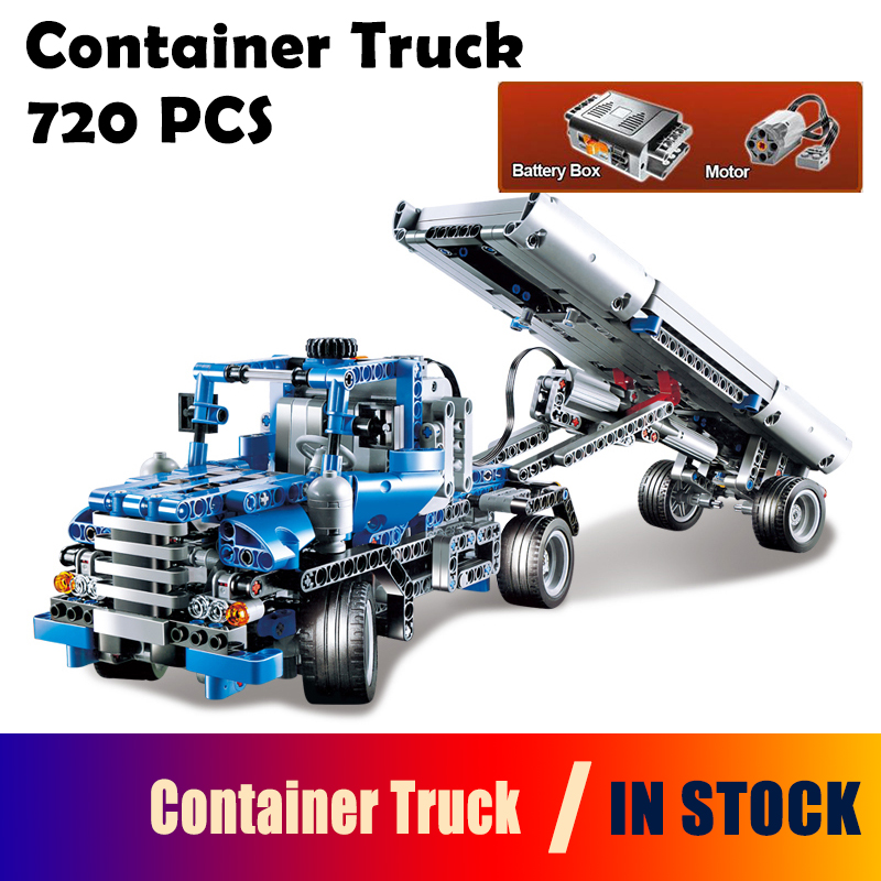 Compatible with Lego Technic Series 8052 20027 720pcs Container Truck building blocks Figure bricks toys for children 3345 technic city series mini container truck model building blocks enlighten figure toys for children compatible 8065