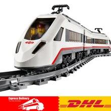 EN STOCK DHL Lepin 02010 Nouveau 610 Pcs La Haute-vitesse Passagers Train Bâtiment À Distance-contrôle Camions Ensemble Blocs briques Jouets 60051