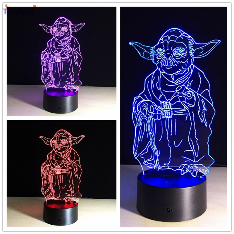 Tobyfancy Star Wars Maestro Yoda 3d Lampara Led Flash Star