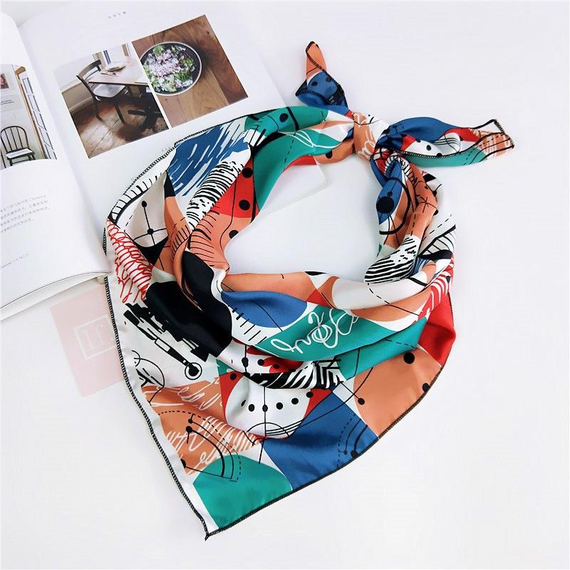 Fashion Women   Scarf   Luxury Brand Geometry Print Hijab Pure Imitate Silk Shawl Scarfs Foulard Square Head   Scarves     Wraps   NEW