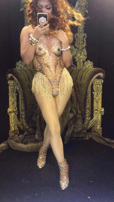 سباركلي الذهب حجر الراين شرابة مثير ارتداءها بلينغ بلورات يوتار المرأة احتفال المطربة المرحلة ارتداء قطعة واحدة زي