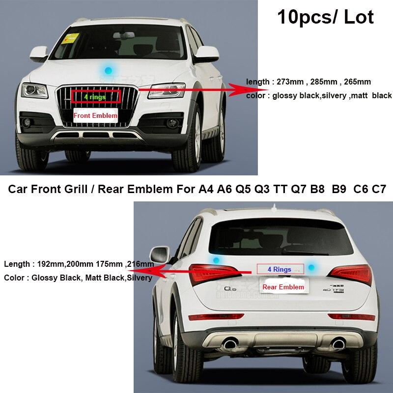 10 x Car Front Grill Bonnet Emblem Head Hood Label Rear Trunk Badge Tail Boot Logo Sticker For Audi A4 A6 Q5 Q3 TT Q7 B8 B9 C6 C