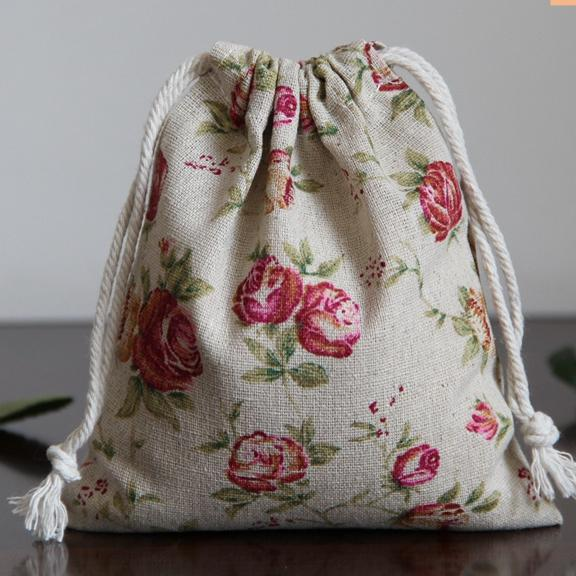 Rose Pattern Linen Jewelry Gift Bag 8x10cm 9x12cm 10x15cm 13x17cm Wedding Birthday Party Candy Sack Makeup Pouch