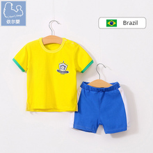 YiErYing Baby Clothing Sets 2018 Summer 100% Cotton 2Pcs Tops+Pants Short sleeved Football Suits Newborn Boy Girl Jumpsuits