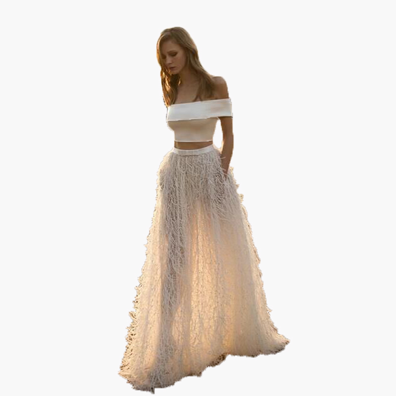 New Arrive Feather Skirts A Line High Quality saia longa Floor Length Custom Made Soild saias na altura do joelho Long Skirt