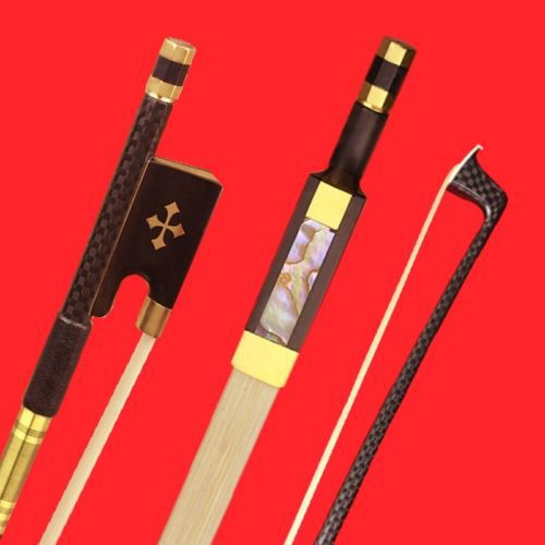 ФОТО 1 Pc High Quality Plaid Light Carbon Fiber 4/4 Professioanl Violin Bow Copper Parts White AAA Horse Hair