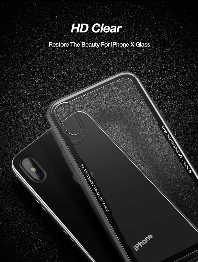 CAFELE New Original Phones Cases For iPhone X 10 Case soft TPU + Ultra Thin Transparent Glass Back Cover For iPhones X 10 Case (10)