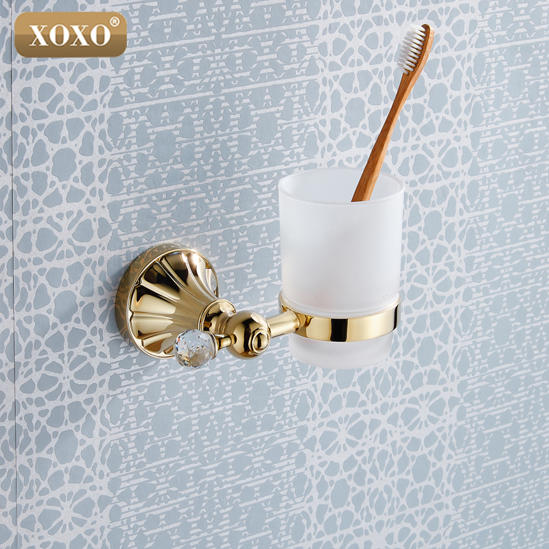 XOXO Golden Crystal Brass+Glass Bathroom Accessories Single cup Tumbler Holders Toothbrush Cup Holders 16084G image