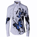 2016 Stylish Men Shirt Luxury Brand Designer Ink Blue Butterfly Print Floral Shirts Men Long Sleeve Cotton Slim Fit Dress Shirts