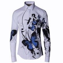 2016 Stylish Men Shirt Luxury Brand Designer Ink Blue Butterfly Print Floral Shirts Men Long Sleeve Cotton Slim Fit Dress Shirts