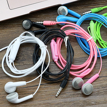 colorful line control Crystal cap 3.5mm jack wired headsets music earphones earbuds for cell iphone PC